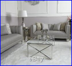 Zenn Contemporary Stainless Steel Clear Glass Lounge Living Room Coffee Table