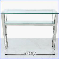 Zenn Stainless Steel Clear Glass Home Office Desk Table Lower Shelf